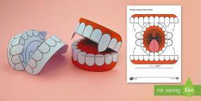 Simple 3D Halloween Vampire Teeth Activity Paper C...