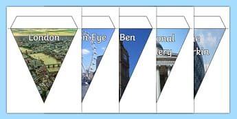 London Photo Display Bunting - london display bunting, london photo bunting, london landmarks, london sites, london photos on bunting, uk capital, england