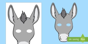 Donkey Mask Template - - donkey, role play, mask, nativity, mule, farm role play,