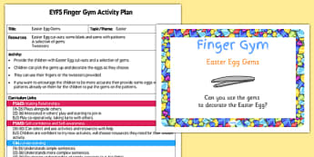 EYFS Easter Egg Gems Finger Gym Activity Plan and Prompt Card Pack