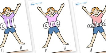 Tricky Words on Star Jumps - Tricky words, DfES Letters and Sounds, Letters and sounds, display, words