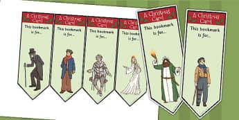 A Christmas Carol Editable Bookmarks - bookmarks, christmas, scrooge, Charles Dickens