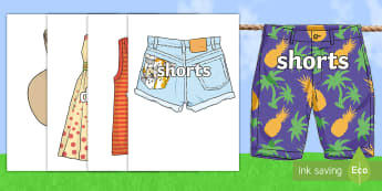 Summer Clothing Words on Pictures Display Bunting - summer, words, clothes, clothing, vest, hat, shorts, sandals, flipflops, hot, summer clothing, displ