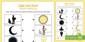 Light and Dark Shadow Matching Worksheet - light, dark, match
