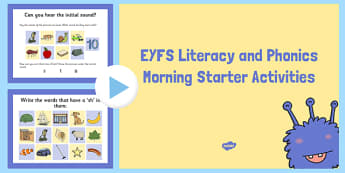 EYFS Literacy and Phonics Morning Starter Activities PowerPoint - EYFS activities, early years, reception, FS2, C&L