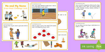 KS1 Me and My Name Gross Motor Skills Challenge Cards - KS1, Me and My Name, handwriting, practise, writing, letters, formation, lower case, capitals, upper