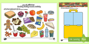 Healthy Eating Lunch Activity Arabic/English - Healthy Eating Lunch Activity - healthy, healthy eating, sort, activity, fruit, game, how to eat hea