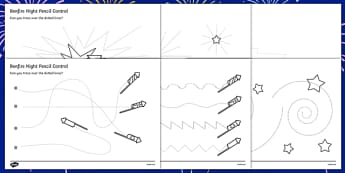 Bonfire Night Pencil Control Sheet - bonfire night pencil control sheet, pencil control, pencil, control, worksheet, sheet, Bonfire, Fireworks Night, Guy, Autumn, display, firework, bang, crackle, woosh, rocket, sparkler, catherine wheel, screech, wh