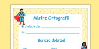 Certyfikat Mistrz ortografii po polsku - pisownia, motywacja