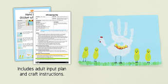 Handprint Chicken with Chicks Craft EYFS Adult Input Plan and Craft Pack - hanprint, chicken, chicks, craft