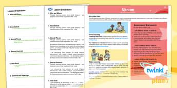 PlanIt - RE Year 3 - Sikhism Planning Overview CfE - CfE Planit Overviews, RME, Sikhism, Other world religions, gurdwara, guru