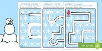 Ficha de motricidad fina: Laberinto - Invierno - control de trazo, lápiz, motricidad fina, laberinto, invierno, motricidad, trazar, reseguir, seguir