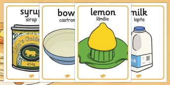 Pancake Day Recipe Posters EAL Romanian Translation - romanian
