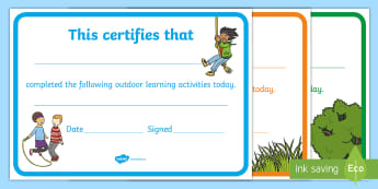 Outdoor Learning Participation Certificates - outdoor learning, celebration, achievement, environment, sharing,Scottish