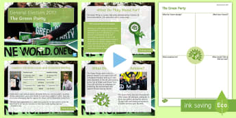 The Green Party Information PowerPoint Pack - Caroline Lucas, Jonathan Bartley, manifesto, history, politics, vote, prime minister, member of parl