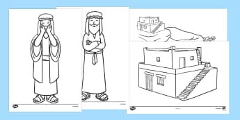 The Wise Man And The Foolish Man Story Colouring Sheets - the wise man, the foolish man, wise, foolish, sand, rock, colouring, fine motor skills, poster, worksheet, vines, A4, display, rain, houses, building, house, bible story, bible