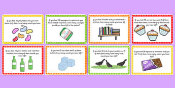 KS1 Subtraction Word Problem Challenge Cards - challenge cards