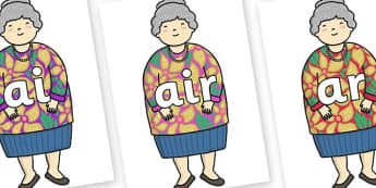 Phase 3 Phonemes on Little Old Lady - Phonemes, phoneme, Phase 3, Phase three, Foundation, Literacy, Letters and Sounds, DfES, display