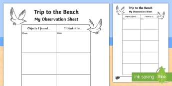 Beach Walk Observations Activity Sheet - Science Week, 10/03/17, 10th March, walk, beach, observation, coast, World Around Us, Literacy, trip