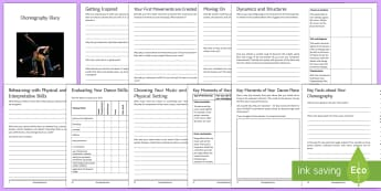 Choreography Diary Booklet - GCSE Dance, Btec Dance, choreography, dance composition, dance diary, ks3 dance, self-reflection, te
