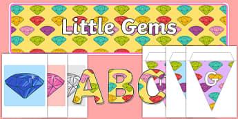Little Gem Display Pack - gem, precious stones, ks1, ks2, class, display, colourful, classname