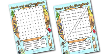 Word Search to Support Teaching on James and the Giant Peach - wordsearch, james and the giant peach, giant peach wordsearch, giant peach, story book, key words, word game, words