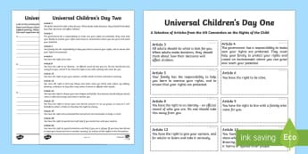 KS2 Universal Children's Day Activity Sheets
