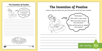 The Invention of Poutine Writing Activity Sheet - canada, canadian, french canadian, canadian food, 5 Ws, story prompt, story, imagination