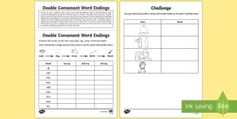 Year 1 Spelling Practice Double Consonant Word Endings Homework Activity Sheet - ks1, English, year 1, practice, home learning, home work, homework, Worksheet, practise, SPaG, spell