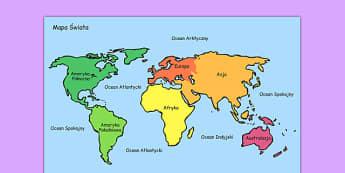 Mapa Świata po polsku - geografia, świat, ziemia, kula