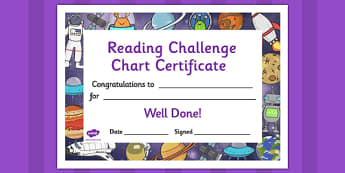 Reading Challenge Chart Certificates Space Themed - Reading Challenge Chart Certificates, Space Themed Certificate, Reading Certificate