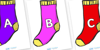 A-Z Alphabet on Socks - A-Z, A4, display, Alphabet frieze, Display letters, Letter posters, A-Z letters, Alphabet flashcards