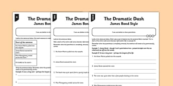 The Dramatic Dash Differentiated Activity Sheet Pack - GPS, spelling, grammar, punctuation, commas, brackets, worksheet