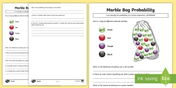 Marble Bag Probability Differentiated Activity Sheets - Australian Curriculum Statistics and Probability, year 3, chance, chance experiment, repeated trials