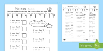 1 More and 2 More Worksheet - Maths, numeracy, maths worksheets, numracy, matsh, activity sheet, Easter.