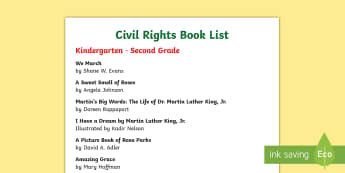 Civil Rights Book List - Civil Rights, Martin Luther King, Jr., Rosa Parks, Black history month,