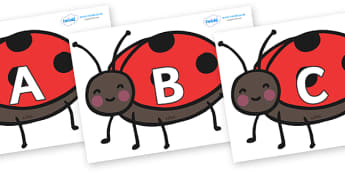 A-Z Alphabet on Ladybugs - A-Z, A4, display, Alphabet frieze, Display letters, Letter posters, A-Z letters, Alphabet flashcards