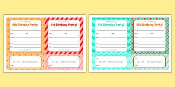 4th Birthday Party Invitations - 4th birthday party, 4th birthday, birthday party, invitations