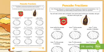 Pancake-Themed Equivalent Fractions Activity Sheet - CfE Pancake Day, equivalent fractions, shrove Tuesday, quarter, half, halves, same,Scottish