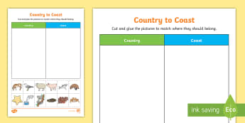 Under Eights Week: Country to Coast Sorting Activity Sheet - worksheet, habitat, animals, classifying, rural, beach, creatures