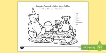 Teddybär Picknick Malen nach Zahlen - Teddybär Picknick Malen nach Zahlen, Teddybär, Teddy, Picknick, Malen nach Zahlen, Zahlenerkennung