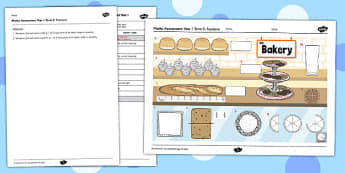 Year 1 Maths Assessment Fractions Term 2 - progress, maths, numeracy, ks1, key stage 1, marking, test, objectives, curriculum, national, spring, decimals, fractions, parts, share, lots of, less,