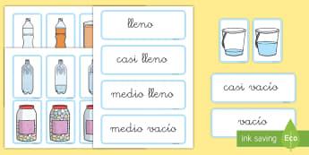 Tarjetas de emparejar: Capacidad - EI - medida, capacidad, mates, medir medida, medir capacidad, lleno, vacio, tarjetas, emparejar matemáti