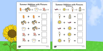 Summer Themed Addition with Pictures Activity Sheets Chinese Mandarin Translation - summer, addition, pictures, activity, sheet,+,adition,additio, additon, summertime, Timw, worksheet