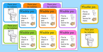 Toilet Passes French - francais, classroom management