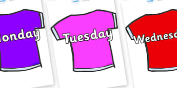 Days of the Week on T-Shirts - Days of the Week, Weeks poster, week, display, poster, frieze, Days, Day, Monday, Tuesday, Wednesday, Thursday, Friday, Saturday, Sunday