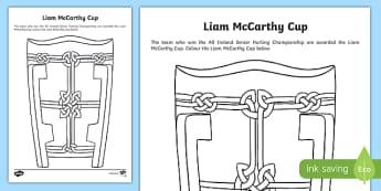 Liam McCarthy Cup Colouring Activity Sheet-Irish, worksheet