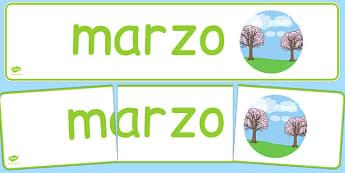 Pancarta - Marzo - meses, primavera, mural, estaciones