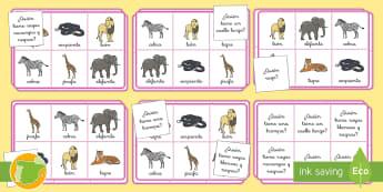 Bingo: ¿Quién es...? - Animales salvajes - animales, salvaje, animal, cocodrilo, canguro, mono, oso, polar, panda, jirafa, elefante, rinoceront