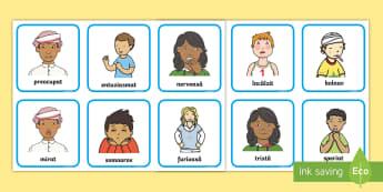 Sentimente și emoții Cartonașe - dezvoltare socială, dezvoltare personală,inteligență emoțională, jocuri cu emoții, activită
